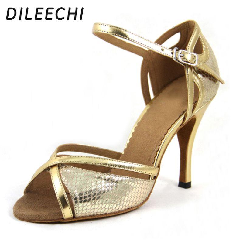 e5994b71e DILEECHI Wholesale Latin dance shoes Women's High-heeled 9CM Ballroom  dancing shoes Red Gold snake