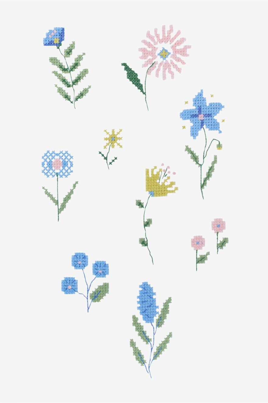 Folk Ditsy Flower pattern | Cross Stitch Patterns | Pinterest
