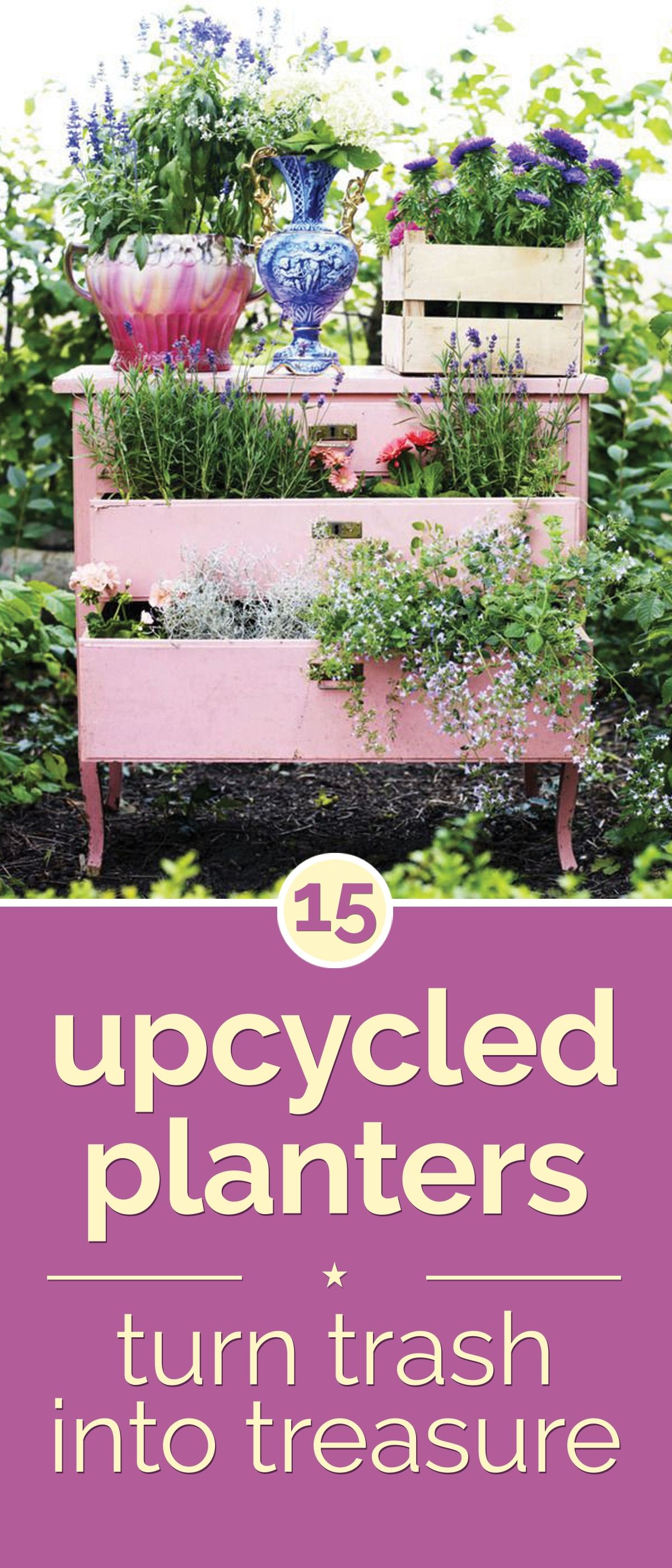 15 Upcycled Planters Turn Trash into Treasure is part of Upcycled garden Art - Upcycled planters can bring some beauty to your garden, by using items you might have just thrown away  Nothing goes to waste with these upcycled planters
