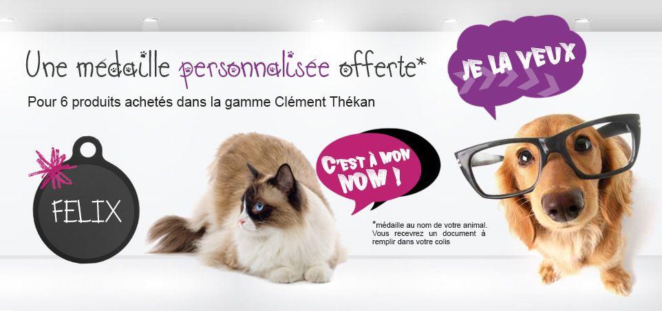 En ce moment, vetomalin offre une médaille avec le nom de votre chien ou de votre achat pour toute commande de 6 produits de la gamme Clément Thékan !