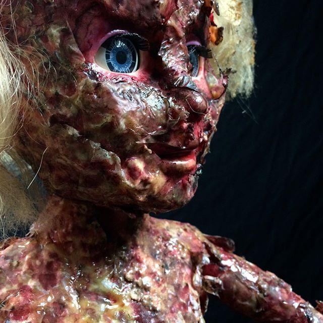 Recycled doll bust made to look like burnt flesh. #creepydoll #creepy #doll #recycledart  #darkart #burn