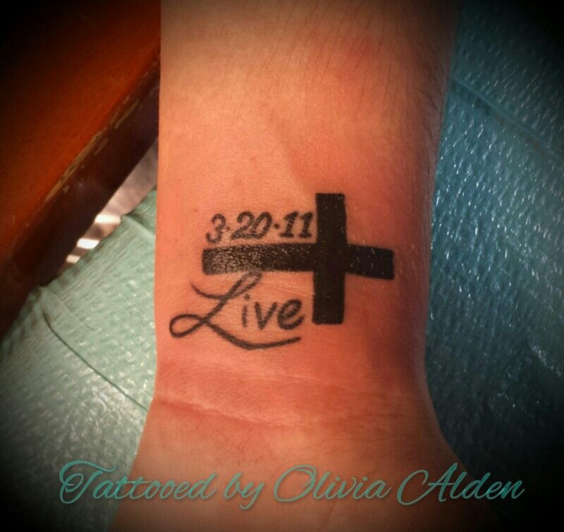 Cross date live tattoo Tattoos and piercings, Live