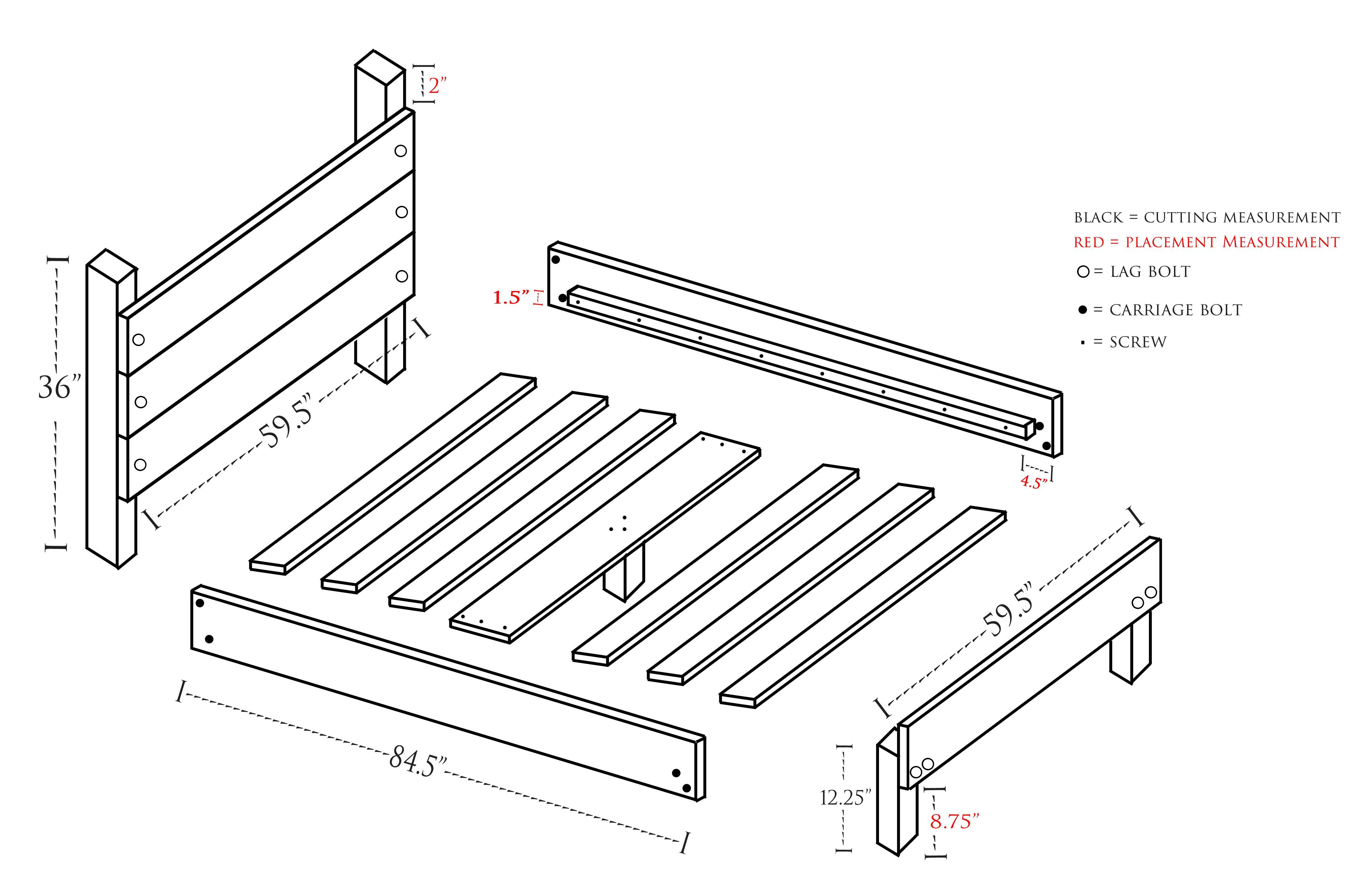 Diy slatted bed frame plans via
