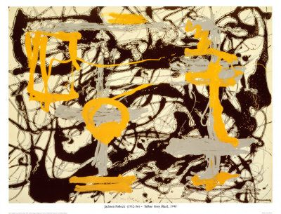 Yellow, Grey, Black by Jackson Pollock. Art print from Art.com.