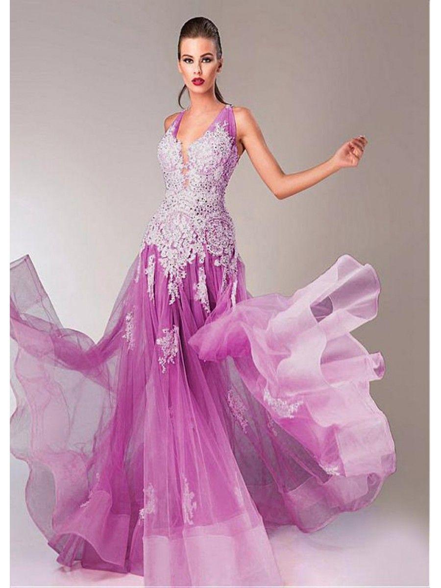 Long purple lace tulle prom formal evening dresses purple