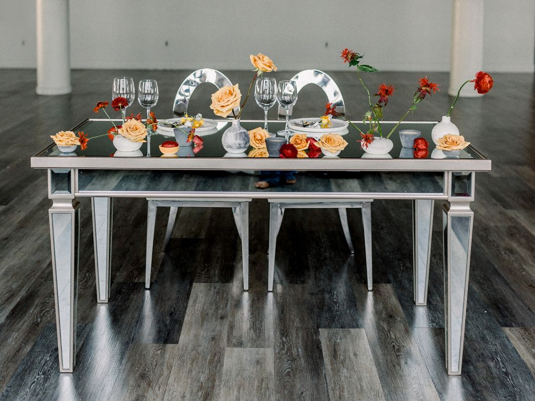 Mirror Sweetheart Table Sweetheart Table Event Rental Mirror Table
