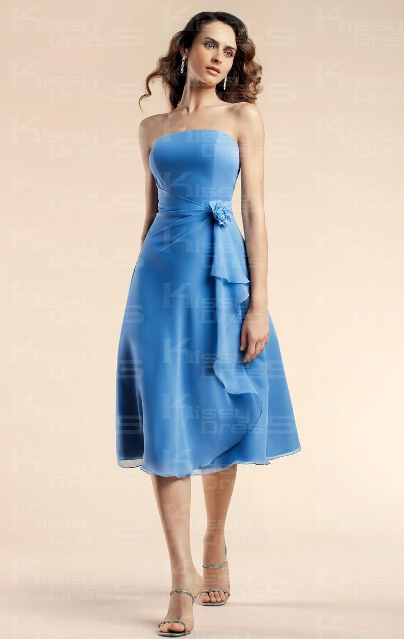 Cheap simpleelegant aline strapless empire tea length blue