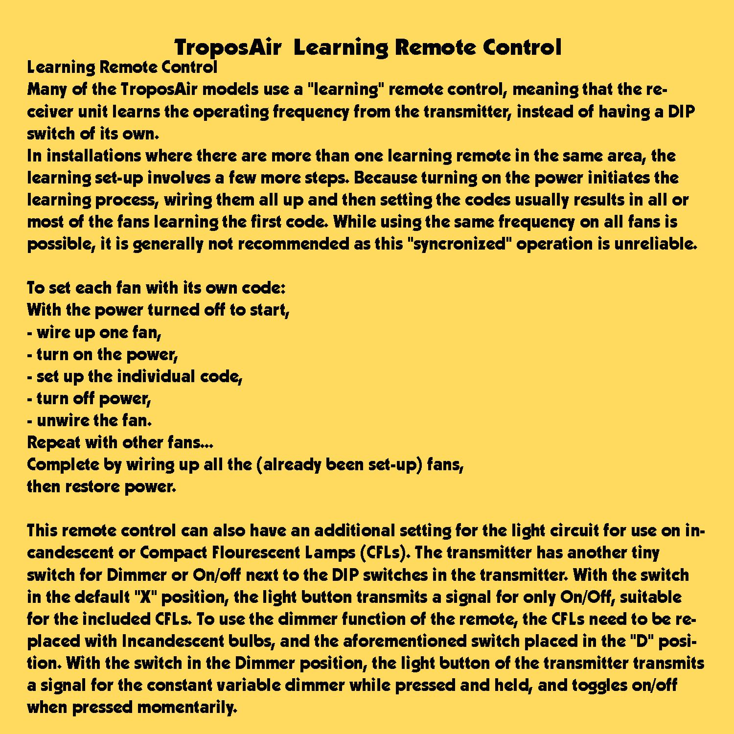 Troposair Learning Remote Control Lighting And Ceiling