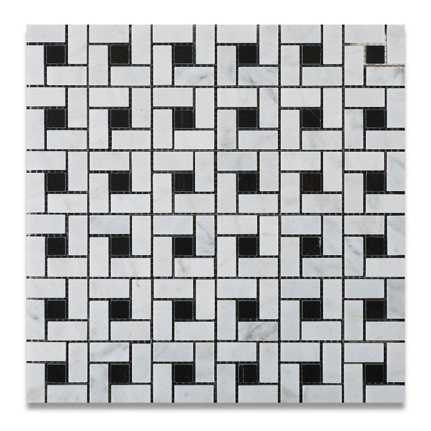 Carrara White Marble Polished Pinwheel Mosaic Tile W Black Dots Marble Mosaic Tiles Carrara Marble Tile Mosaic Tiles