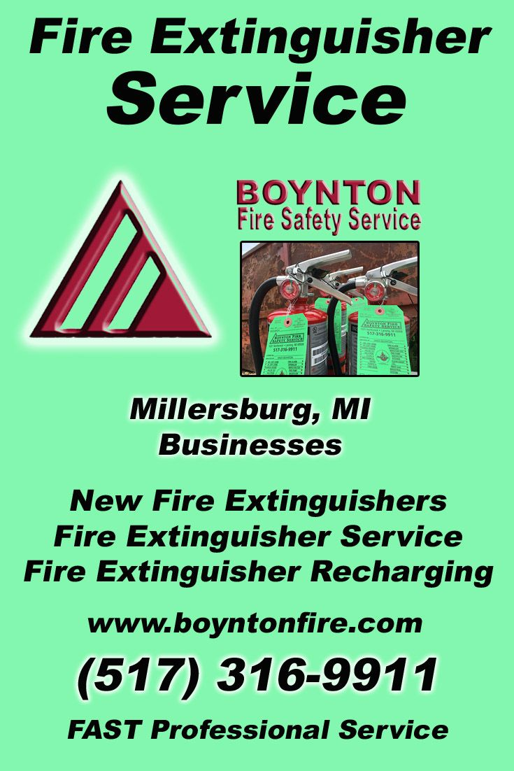 Fire Extinguisher Service Millersburg, MI.  (517) 316-9911 Check out Boynton Fire Safety Service.. The Complete Source for Fire Protection in Michigan. Call us Today!