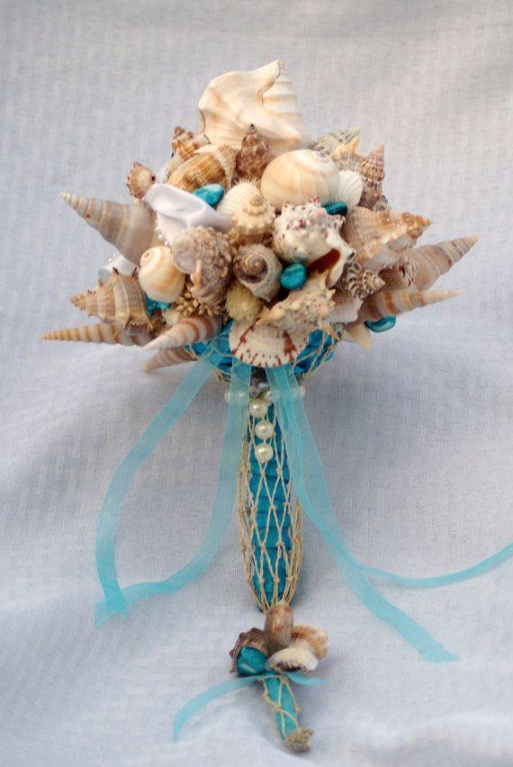 Blue Seashell Bouquet And Boutonniere Set Beach Wedding Destination Seaside On Etsy 118 00