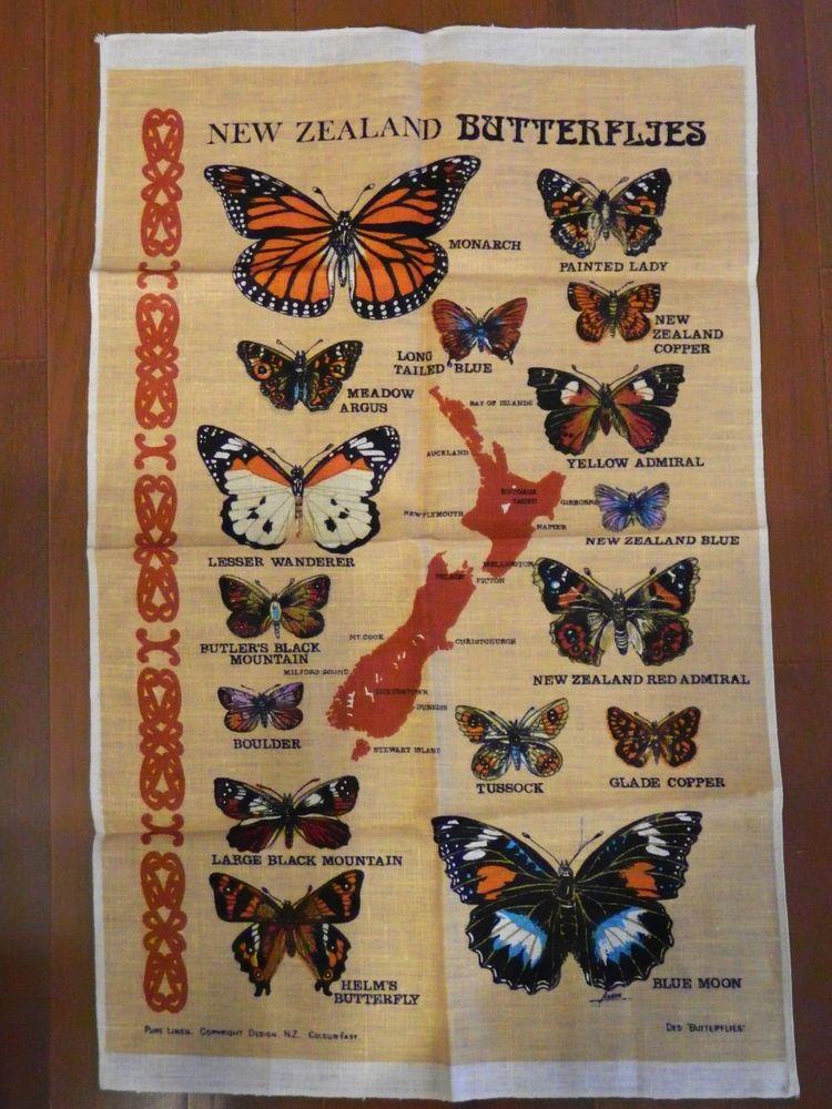 Vintage New Zealand Butterflys Souvenir Linen Tea Dish Kitchen Towel Unused