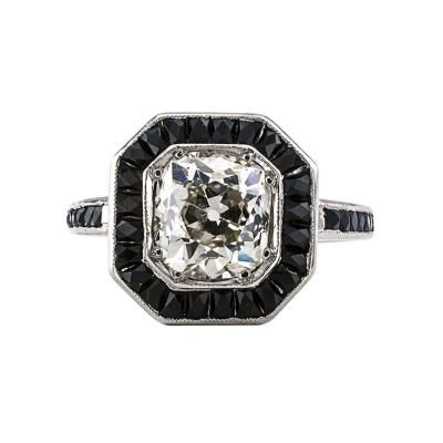 1 85 Carats Old Mine Cushion Cut Diamond And Black Onyx Engagement Ring
