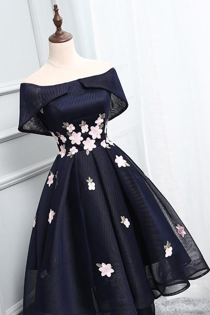 Navy blue short off shoulder prom dress, bridesmaid dress with