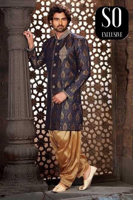 Homme Indien Abbas Et Indiens Bleu Sherwani Marine DoréVêtements L4cq35SAjR