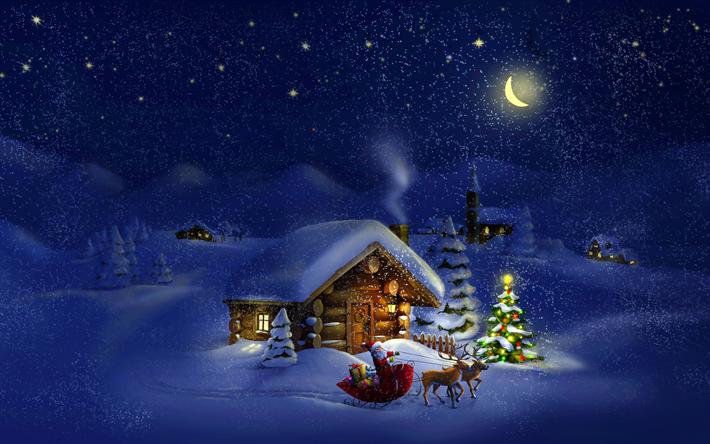 Sfondi Invernali Natalizi.Scarica Sfondi Invernali Natale Notte Casa In Montagna Babbo