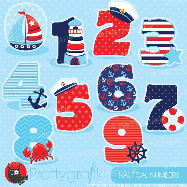 Nautical numbers clipart set ideal for class decorations for Number 1 decorations