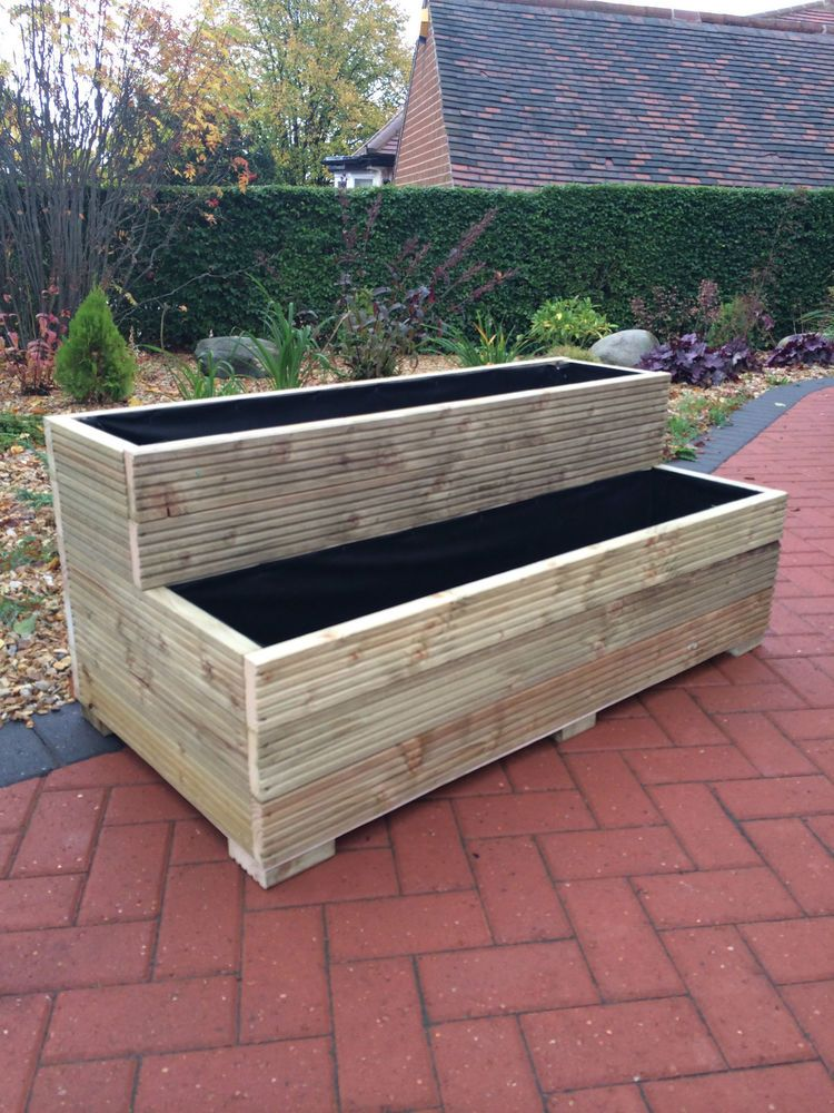 Triangular Raised Flower Bed On Large Garden Lawn Stock: Large Wooden Garden Step Planter Trough Two Tier Veg Bed