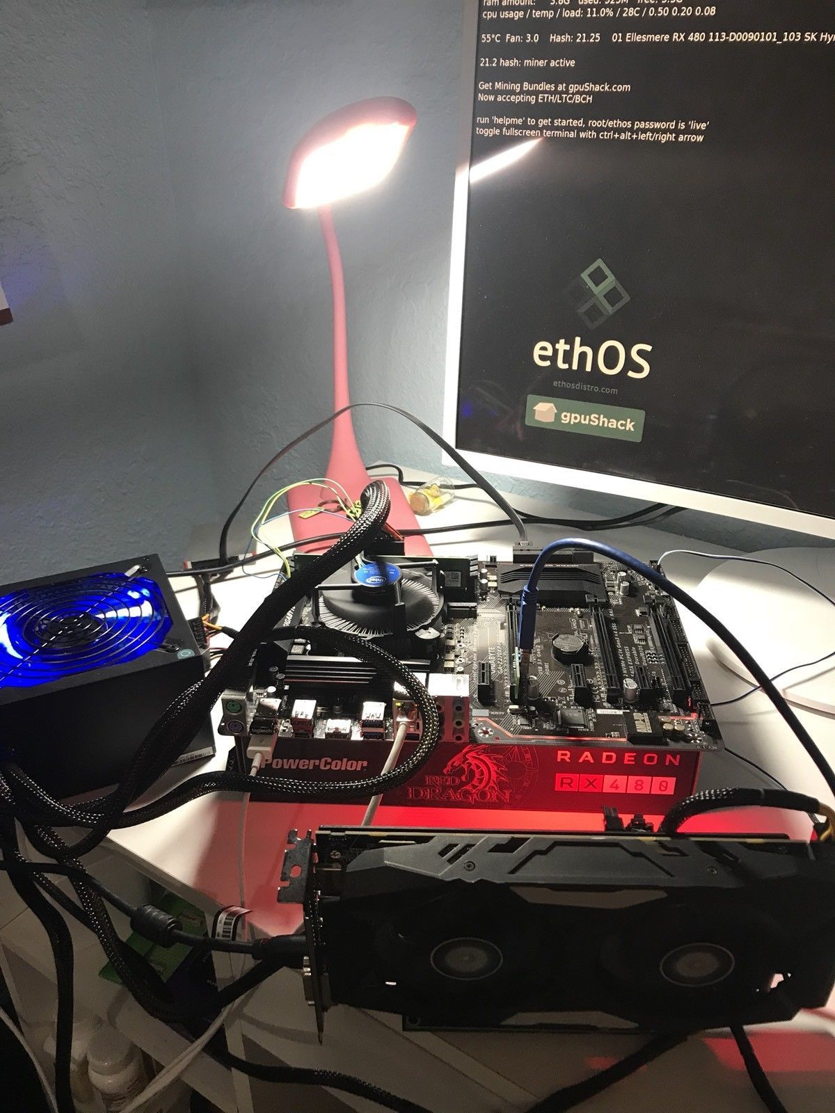 Ethereum, Zcash, Moneri MINING RIG with 4 GPUs, MB, PS