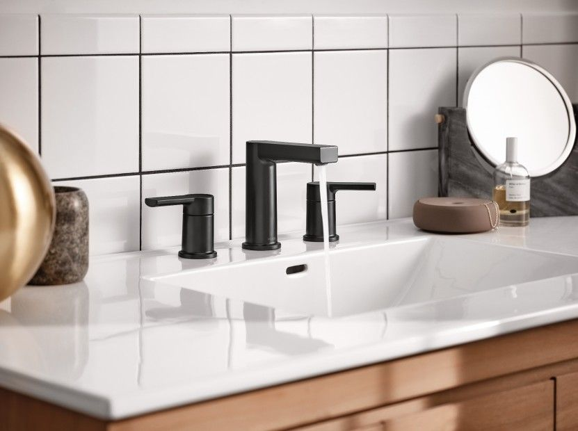 rinza matte black two handle bathroom