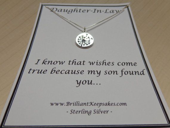 Daughter In Law Gift Idea Wishes Come True Sterling Silver Dandelion ...