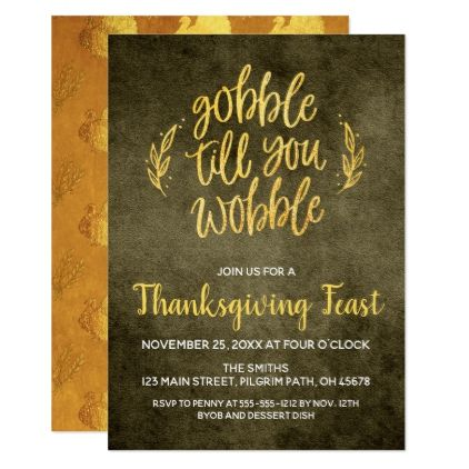 Gobble Till You Wobble Thanksgiving Card  Thanksgiving Invitations