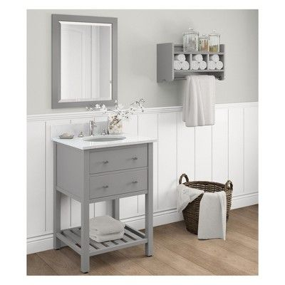 Harrison with White Marble Sink Top Set Bath Vanity Cabinet Gray 25