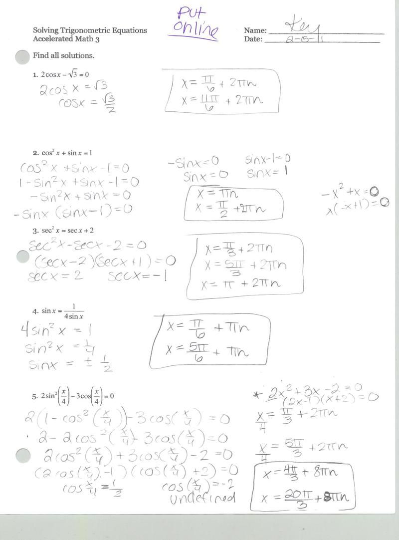 Trig Identity Worksheets Free With Answers Word Problem Worksheets Worksheet Template Equations