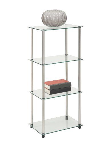 Convenience Concepts 157001 Go Accsense 4 Tier Glass Tower Clear Glass Shelving Units Living Room Glass Display Shelves Convenience Concepts