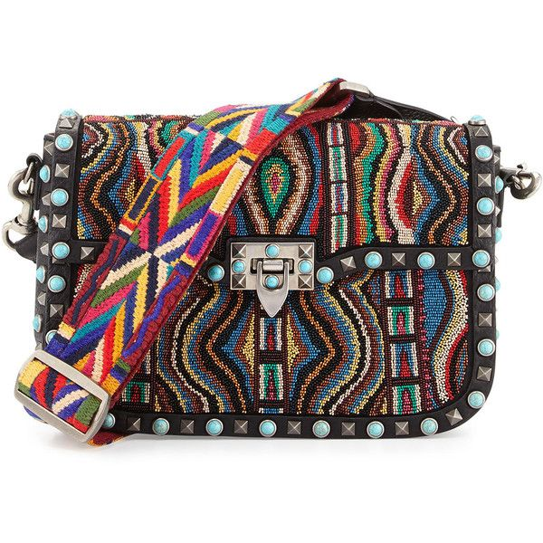 Valentino Rockstud Rolling Beaded Medium Shoulder Bag (36,095 CNY) ❤ liked  on Polyvore featuring