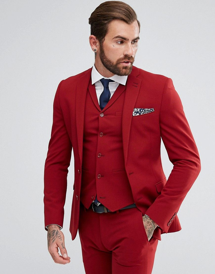 Asos Super Skinny Fit Suit Jacket In Red Red Mens Skinny Fit Suits Mens Skinny Suits Skinny Fit Suits