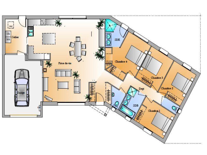 plan de maison quatre chambres