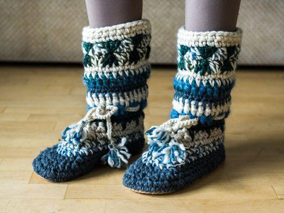 Mukluk slippers, long slipper boots