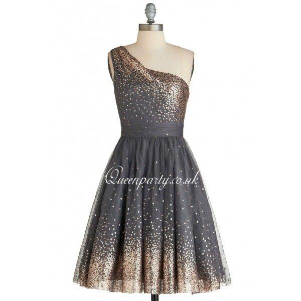 Sliver Grey One Shoulder Short Prom Dress With Sequins ...
