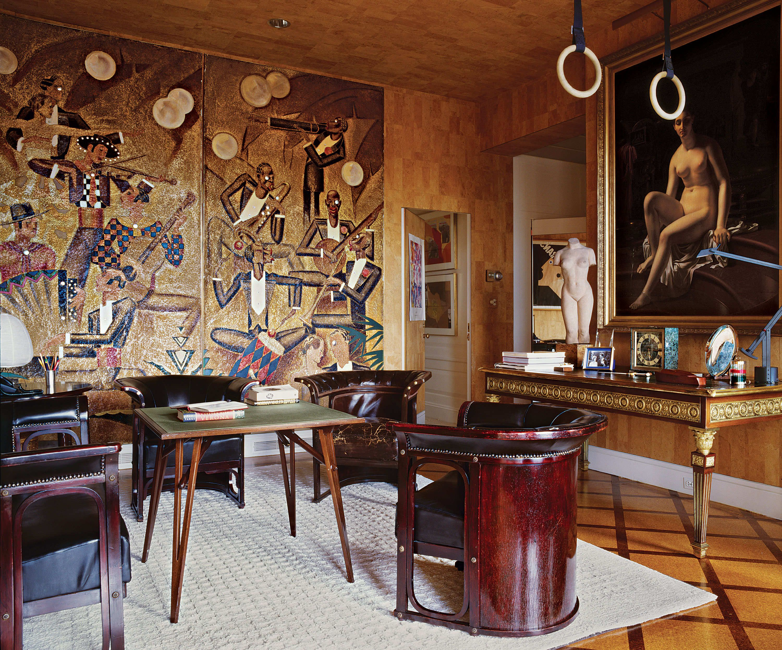 Gianni And Marella Agnellis Park Avenue Apartment Cork Lined Study Featuring An Ormolu Mounted Louis XVI Table With A Painting By