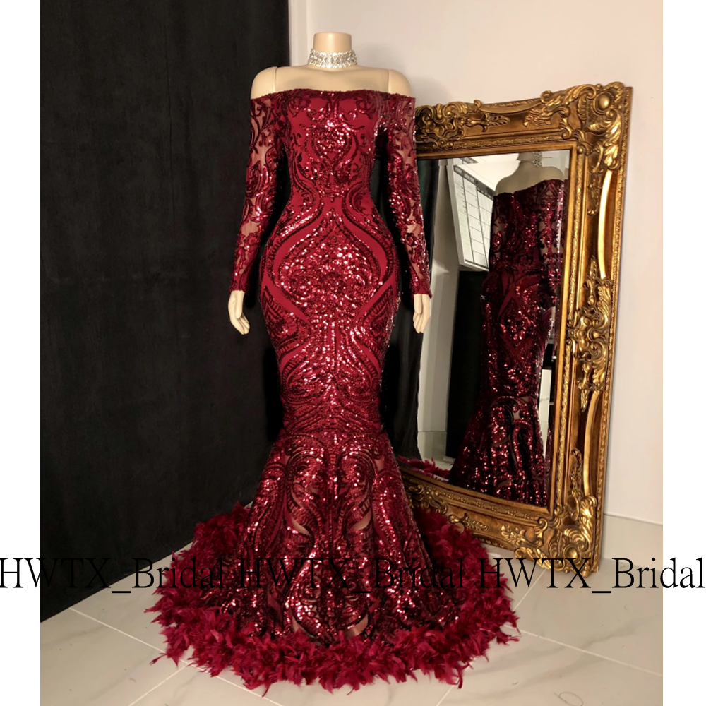Vintage Wine Red Feathers Long Prom Dresses 2020 Mermaid Off The Shoulder Long Sleeves Spark Prom Dresses Long With Sleeves Prom Girl Dresses Cute Prom Dresses [ 1000 x 1000 Pixel ]