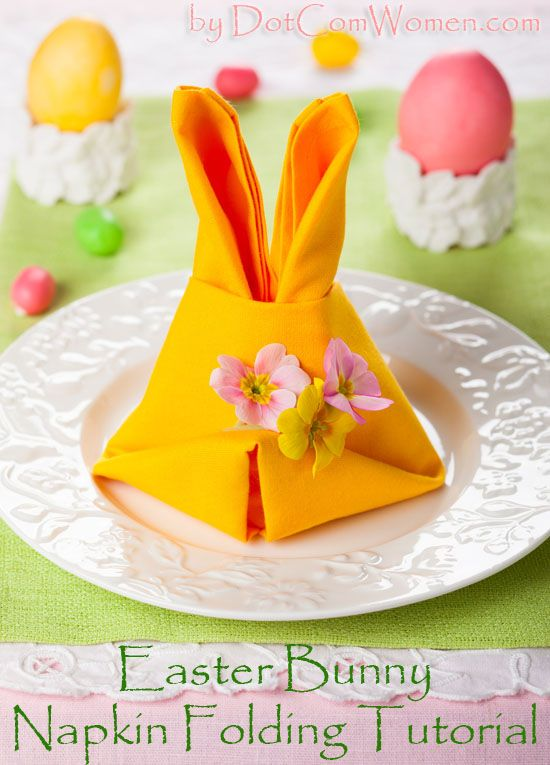 Easter Bunny Napkin Folding Tutorial #easter