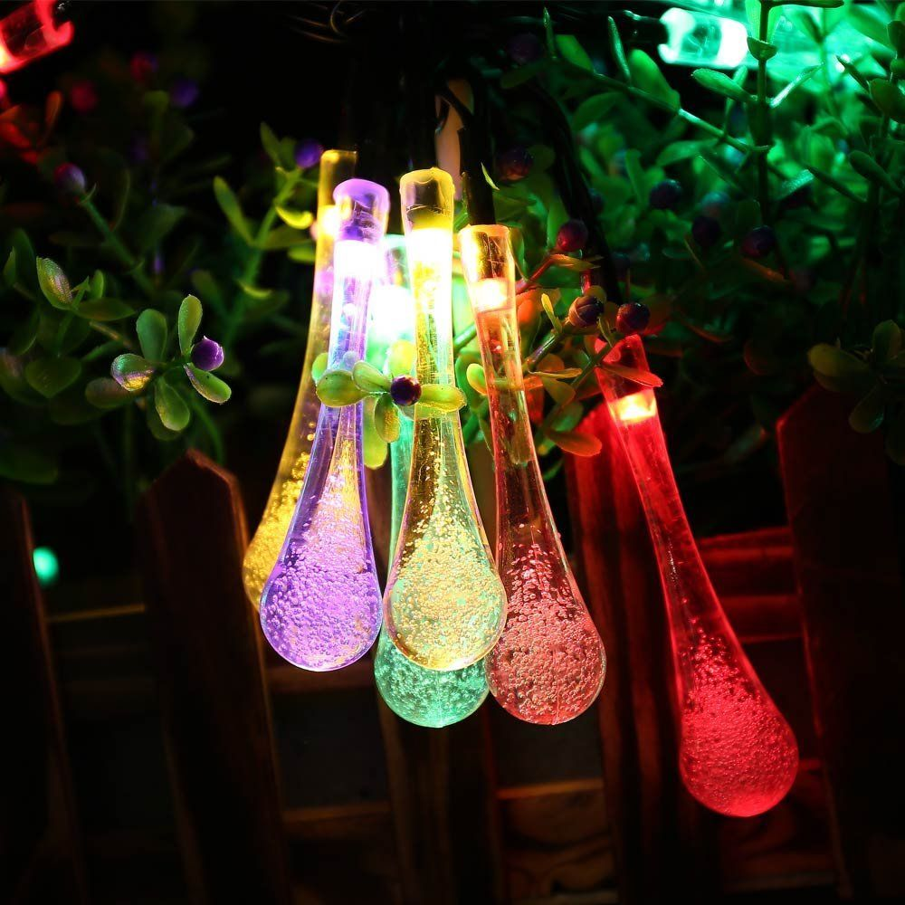 LederTEK Solar Christmas Lights 19.7ft 6m 30 LED 8 Modes Solar Light String Crystal Water Drop Solar Fairy String Lights For Outdoor, Gardens, Homes, Wedding, Christmas Party, Waterproof (30 LED Warm White) - фото 4