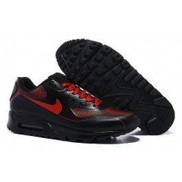the latest b0f17 da796 Acheter Nouveau Homme nike air max 90 chaussures de course complet noir de cuir  rouge Vente En ligne Foot Locker