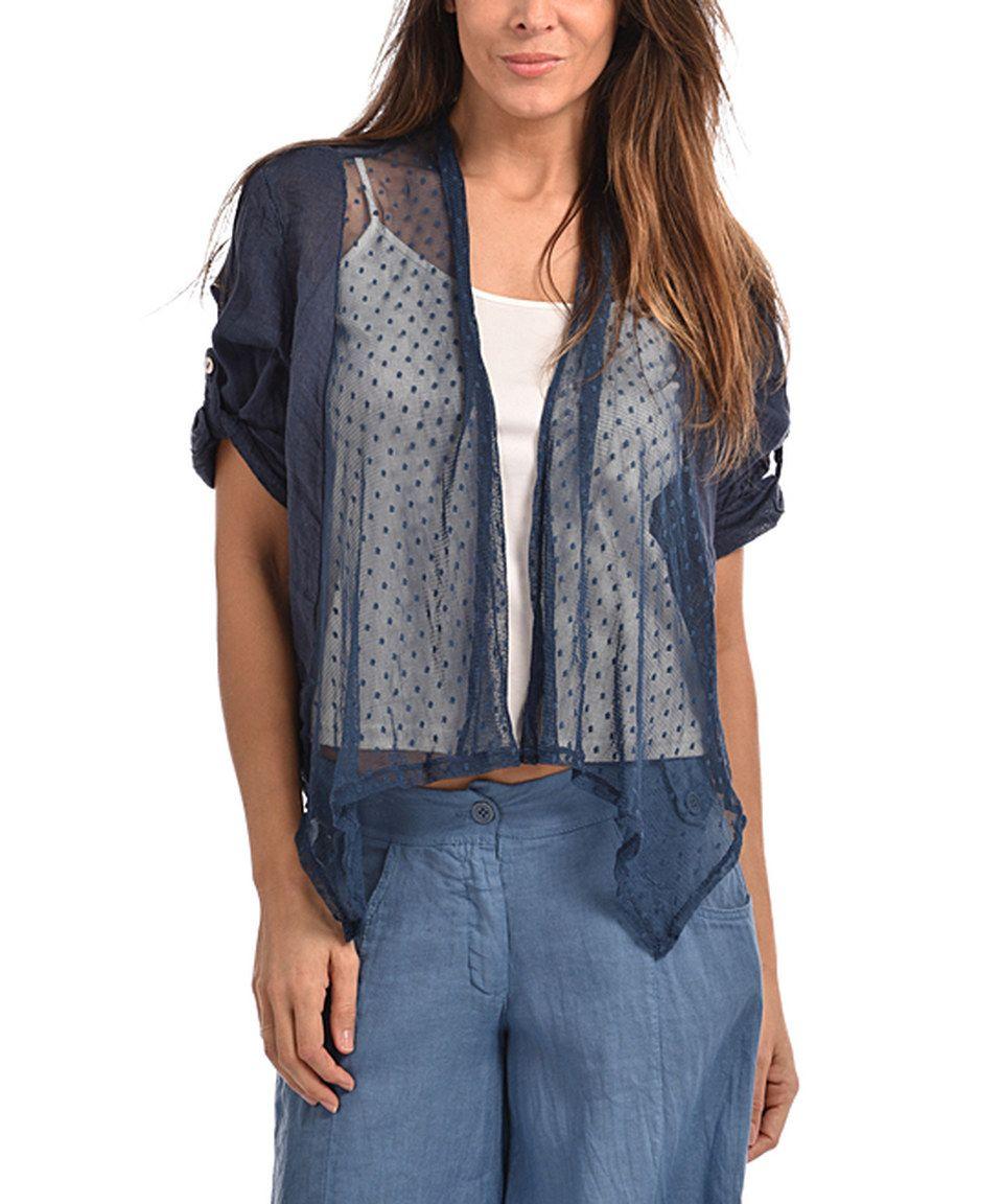 Couleur Lin Navy Blue Sheer Celine Linen Open Cardigan | Fashion ...