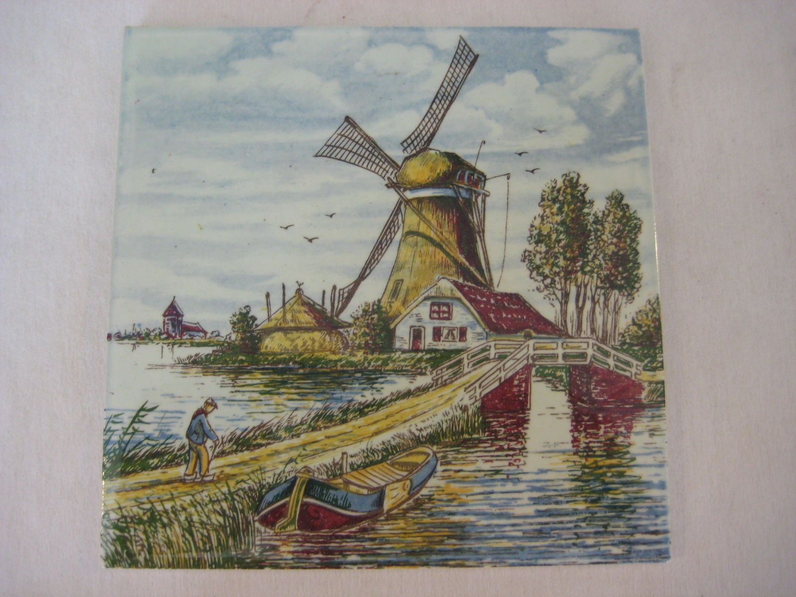 Delfts hand painted made in holland windmill old man ceramic tile delfts hand painted made in holland windmill old man ceramic tile 5 3 dailygadgetfo Image collections