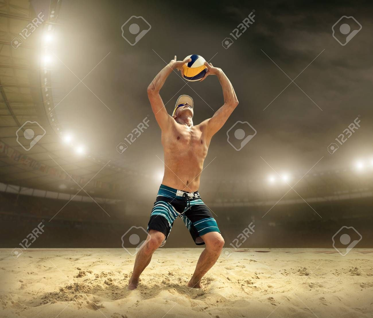 Beach Volleyball Player In Action At Sunny Day Under Blue Sky Stock Photo Ad Action Sunny Player Bea Beach Volleyball Volleyball Players Volleyball