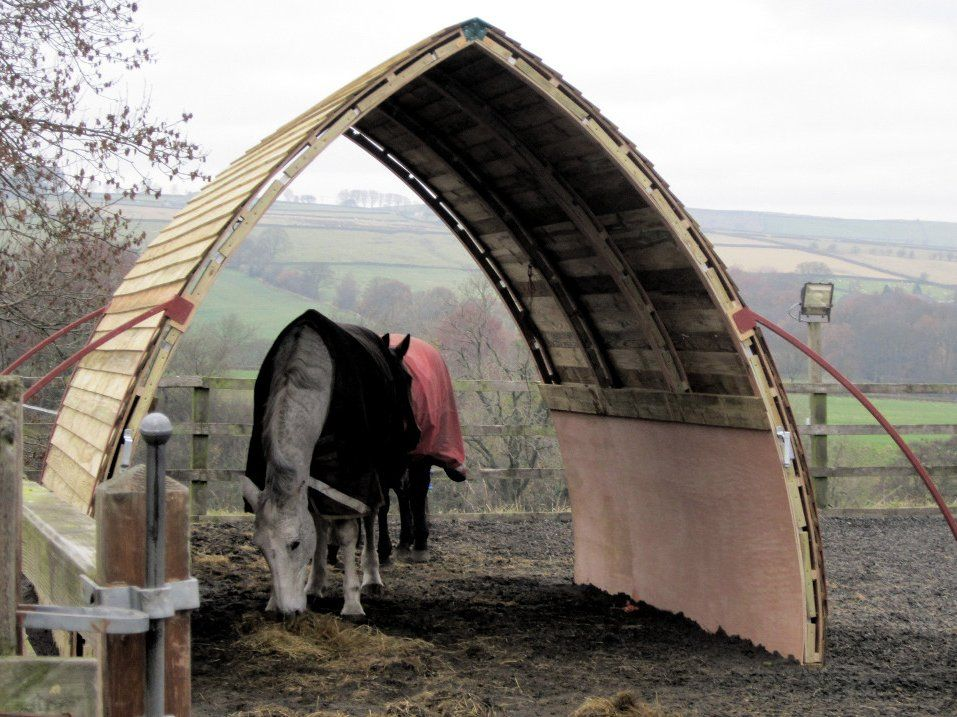 Wood Horse Shelter : Horsearc wooden arched horse shelter animals