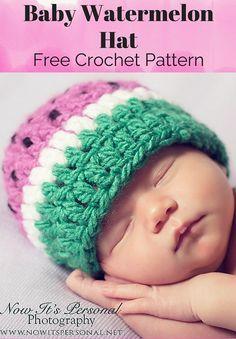 ccb1135e036 Free Crochet Pattern -- A super cute baby watermelon hat!! By Posh Patterns.