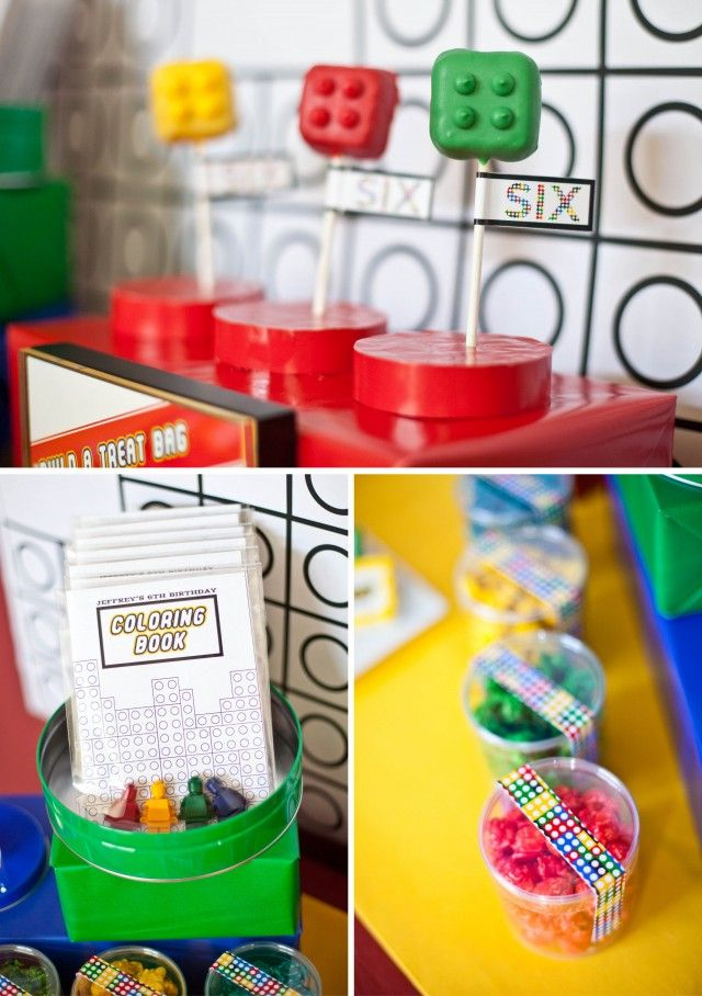 Modern lego inspired birthday party by anders ruff - the favor table lego pops and coloring book