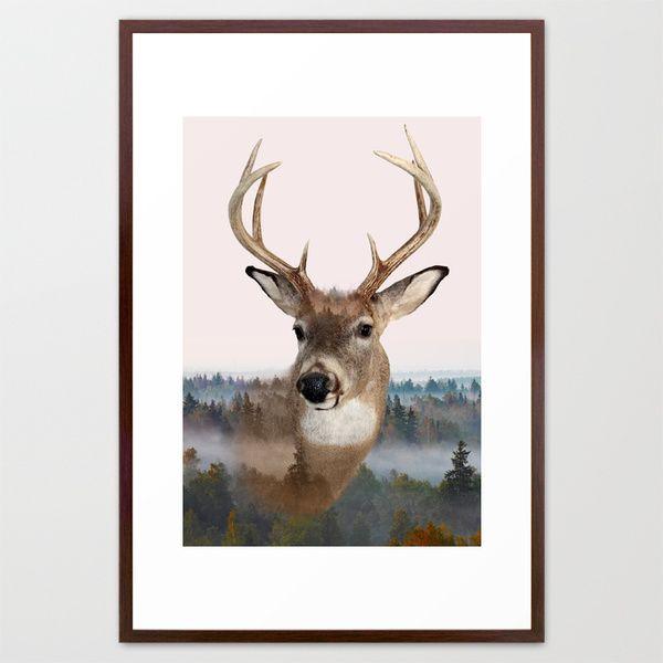 Whitetail Deer Double Exposure Framed Art Print