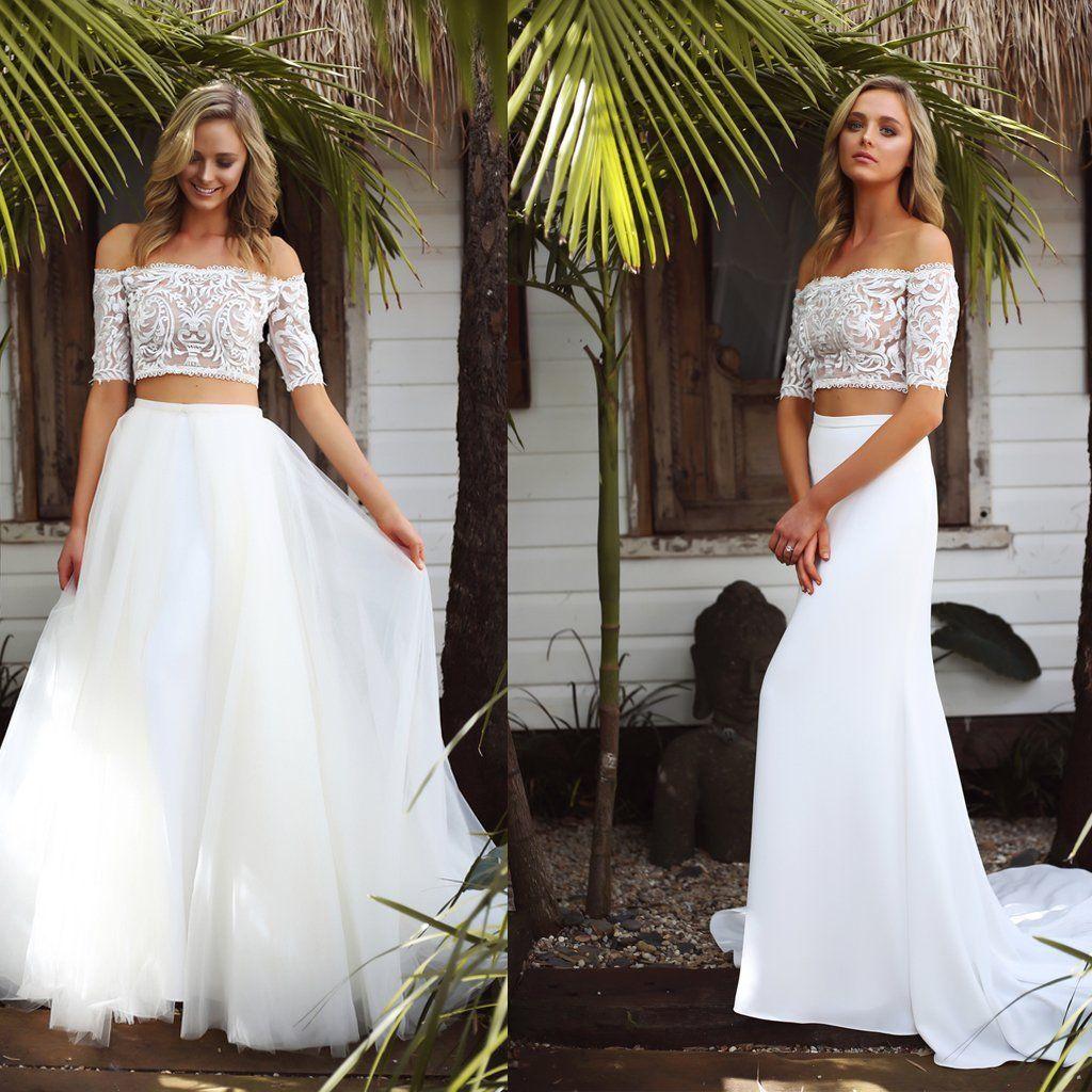 Long wedding dress detachable wedding dress off shoulder wedding