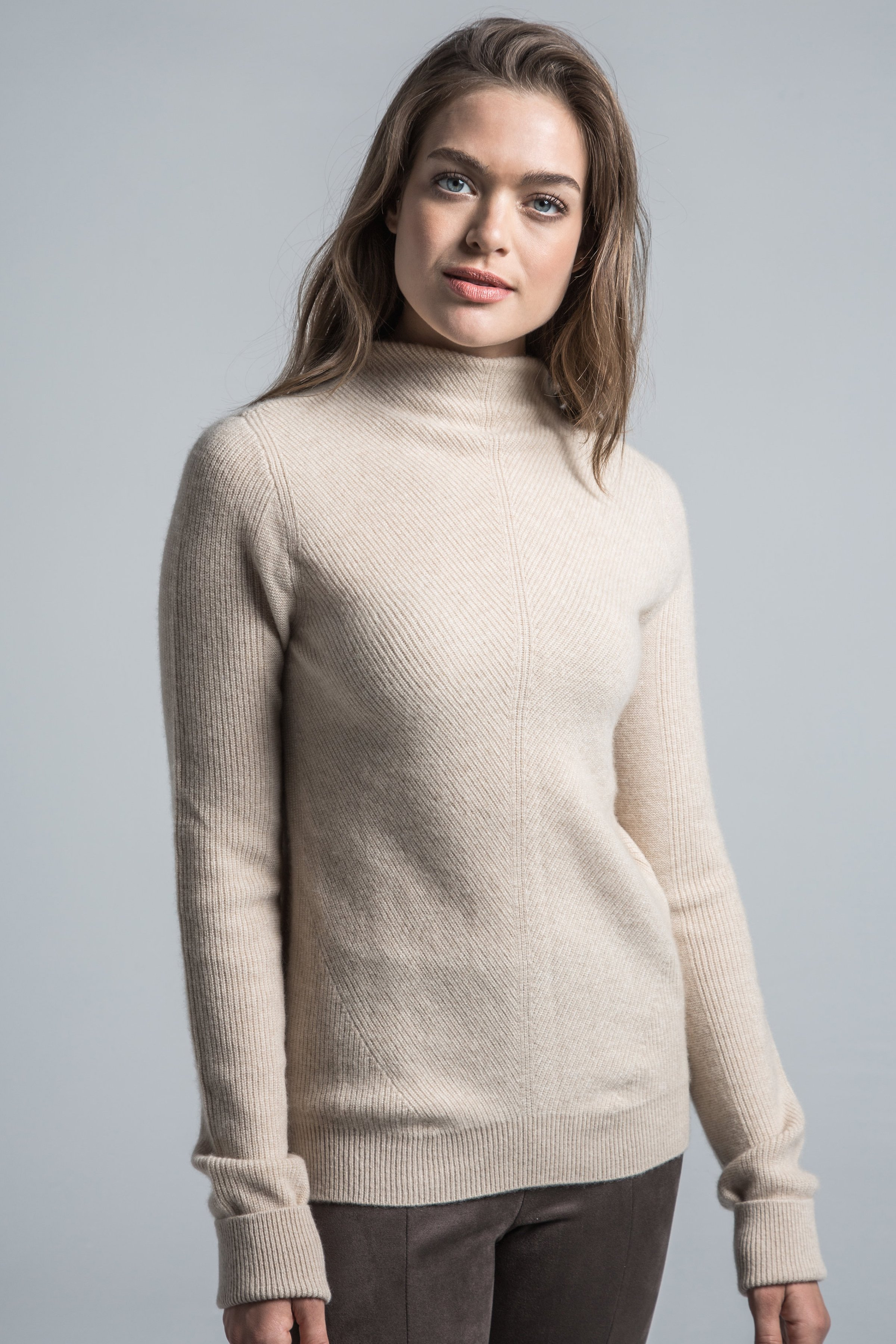 Leah Cashmere Mock Neck Sweater Tan | Sweaters, Cashmere