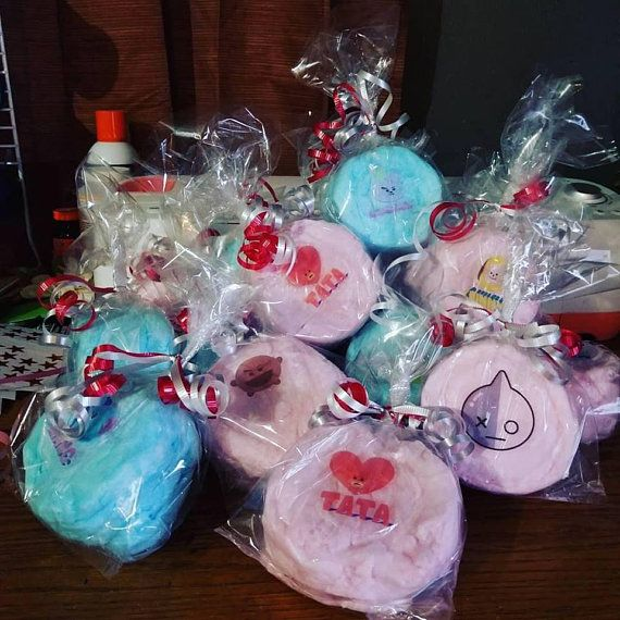 16 KPOP Cotton Candy Party Favors, BTS Cotton Candy Favors, Korean Party Decorations, KPOP Party Decorations, Korean Pop Party Favors is part of Korean Party Clothes - or colors  If you have an image or picture that you would like to use, please send it to us and we can customize labels with your image, if possible  Labels are 3  x 3   If no specifications are made we do our best to send out something that will match your event to the best of our knowledge with the information given  Colors and styles may vary  IMPORTANT INFO Cotton candy, by nature, is very susceptible to weather conditions and extreme temperatures  Our bags are designed and heatsealed to keep your cotton candy fresh longer, but you must do your part by storing your cotton candy in a cool dry place  DO NOT REFRIGERATE OR PLACE IN DIRECT SUNLIGHT, or you will watch your candy shrink before your eyes as it reaches room temperature  Kind of a cool trick for the kids, but might ruin your party   Cotton candy will be packaged the day of or the day prior to shipping and will be shipped via USPS Priority Mail approx 5 days prior to your event date  Please be sure to indicate event date in the notes! PLEASE NOTE THAT THIS IS A PERISHABLE ITEM, AND FOR THE SAFETY OF THE CONSUMER AND TO AVOID DAMAGE IN TRANSIT THEY ARE SHIPPED OUT 45 DAYS BEFORE THE EVENT DATE AND SHIPPED 23 DAY PRIORITY SHIPPING, THIS IS DONE TO AVOID THEM FROM DRYING UP OR CRYSTALIZING WE ARE NOT RESPONSIBLE FOR DELAYED OR LOST PACKAGES, WE WILL WORK WITH YOU IN ANY WAY POSSIBLE TO MAKE SURE THE ITEM REACHES YOU BEFORE YOUR EVENT BUT PLEASE UNDERSTAND THAT ONCE IT IS OUT OF OUR SHOP, THERE IS NOTHING WE CAN DO TO CONTROL SHIPPING