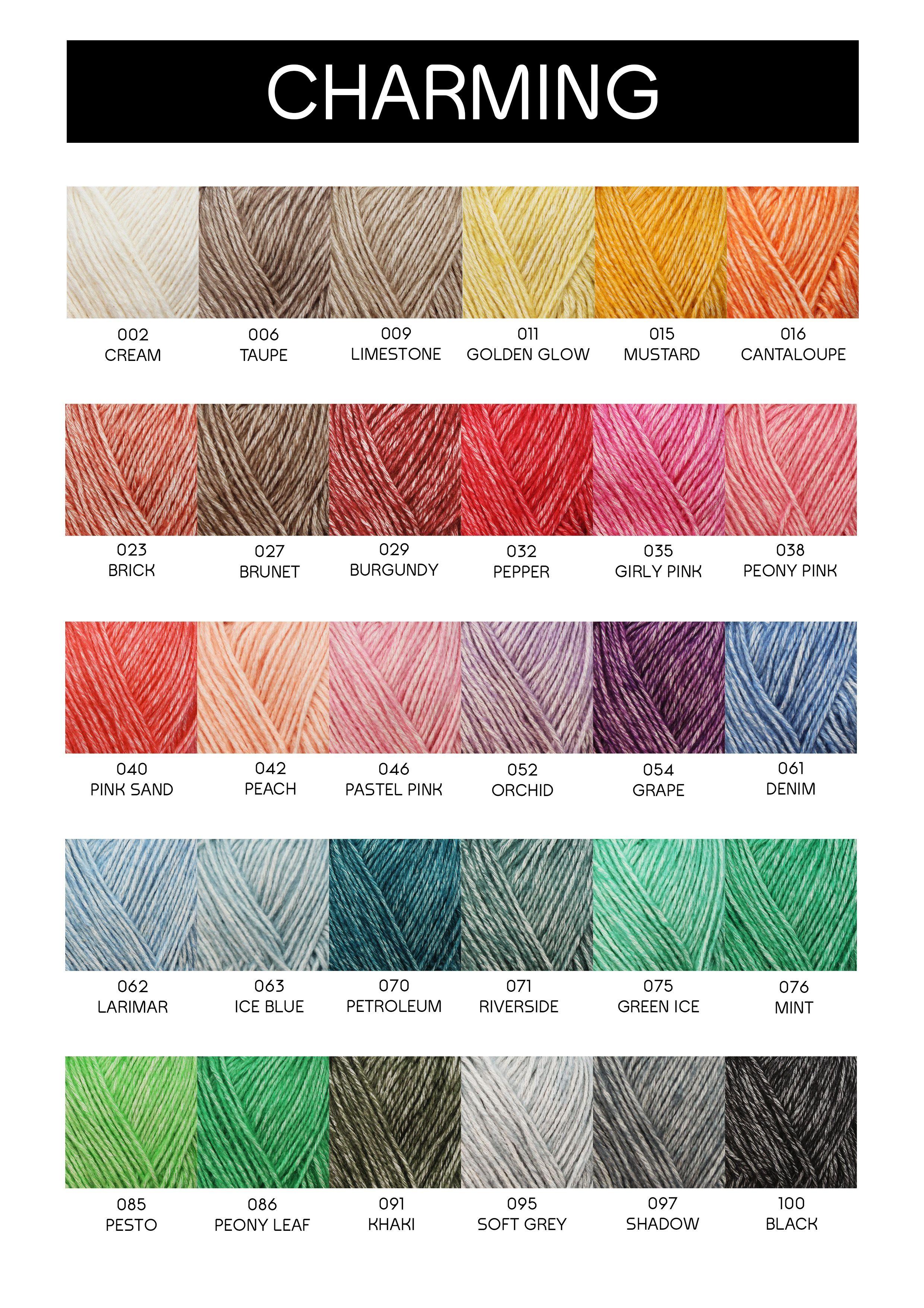 Kleurenkaart van Yarn and Colors - Charming (25 febr. 2017) Naalddikte: 3-3,5 Gewicht: 50 gr. Lengte: 102.5 m Trui maat 40: ca. 6 bol(len) Proeflapje 10x10cm: 20 steken x 28 naalden Samenstelling: 68% Katoen, 32 Acryl